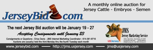 The January Jersey Bid sale is currently open for bidding. Consignments will be accepted until January 23 and close out will be on January 27 at 1:30 p.m. (EST)