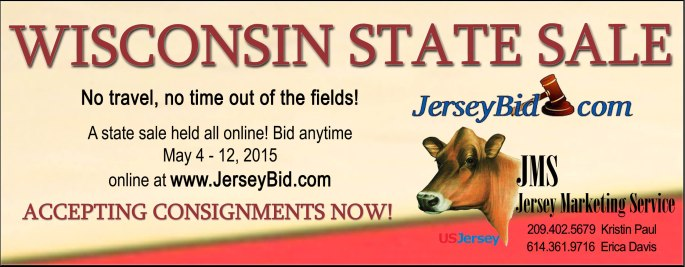 An all online state sale for the Wisconsin Jersey Breeders! The past two years of this online consignment sale have been a great success, with bidding access 24/7 for about a week! Individuals and pen lots are welcome!