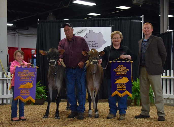 Junior Champion of the Kentucky National Jersey Show was Lot 11 (Summer Yearling) from John & Donna Greiwe & Family, OH. Reserve Jr. Champion was the 2nd Place Summer Yearling - Lot 12 - from Rider Jersey Farm, KY