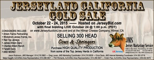 This production based, sell by the load, sale will begin with bidding on JerseyBid.com and finish LIVE in Hilmar, CA and on JerseyAuctionLive.com.