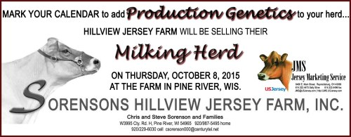 Keep the Hillview Jersey Reduction sale on your calendar, combining with the Top of the World and Dairyland Protein Sale during World Dairy Expo!