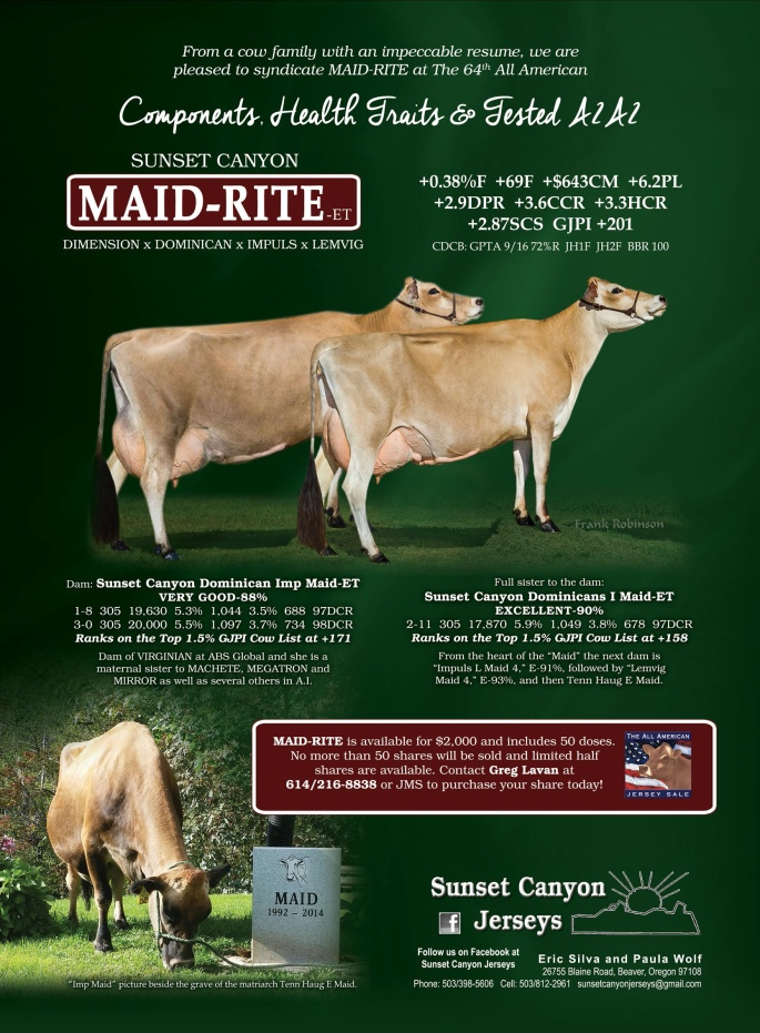 SUNSET CANYON MAID-RITE-ET - a limited number of shares still remain!